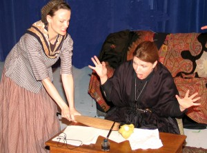 Rebecca Hudnall and Kerry Moran, and the index finger of Chuck Beretz, in Dostoevsky and Rykova, Charlottesville
